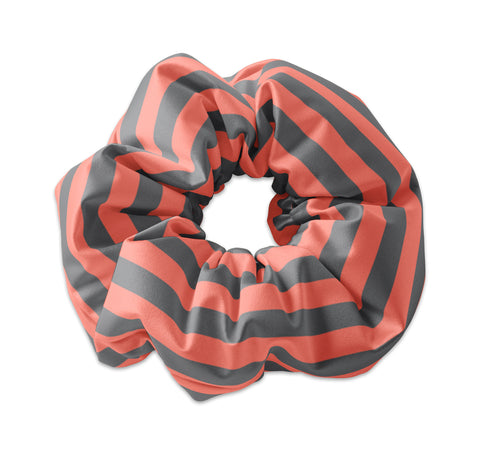 Salmon/Gray Striped Scrunchie - Sunfloura Scrunchies