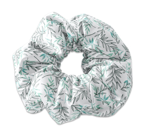 Black and Green Leaves Scrunchie