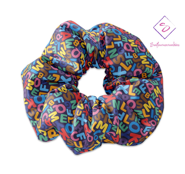 Back to School Colorful Alphabet Scrunchie