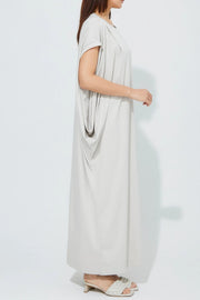 Side Drape Jersey One-Piece Gray Beige