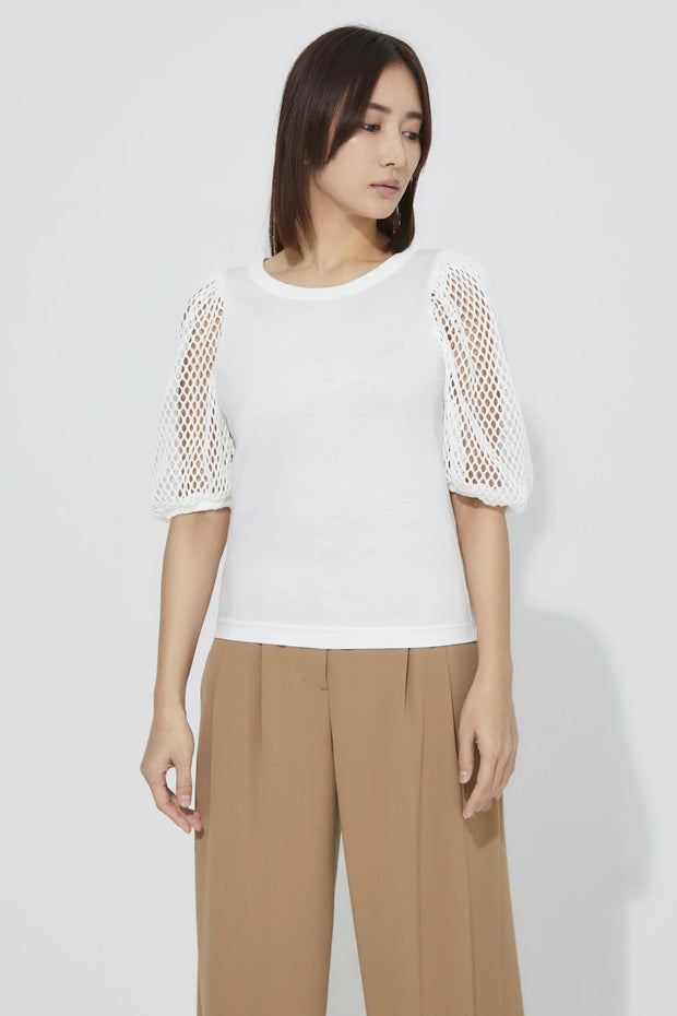 Mesh Sleeve T-Shirt White