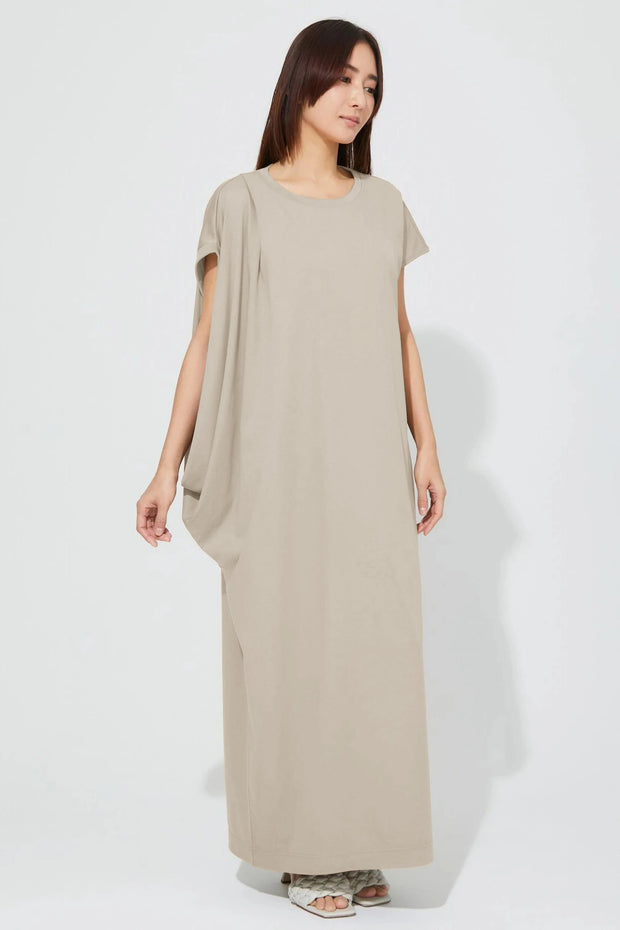 Side Drape Jersey One-Piece Beige