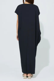 Side Drape Jersey One-Piece Black