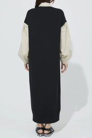Back Jersey One-Piece Black x Beige