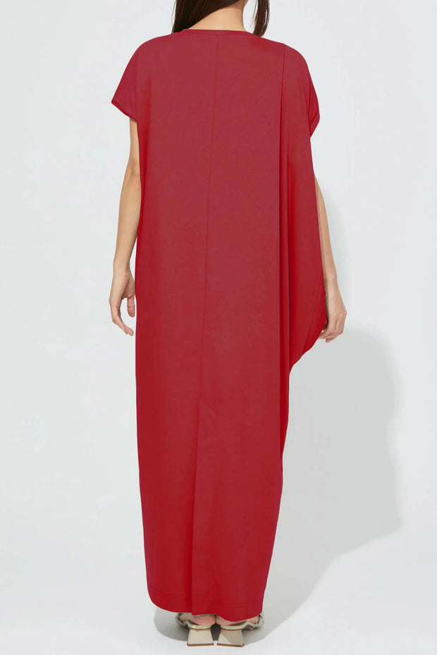 Side Drape Jersey One-Piece Red