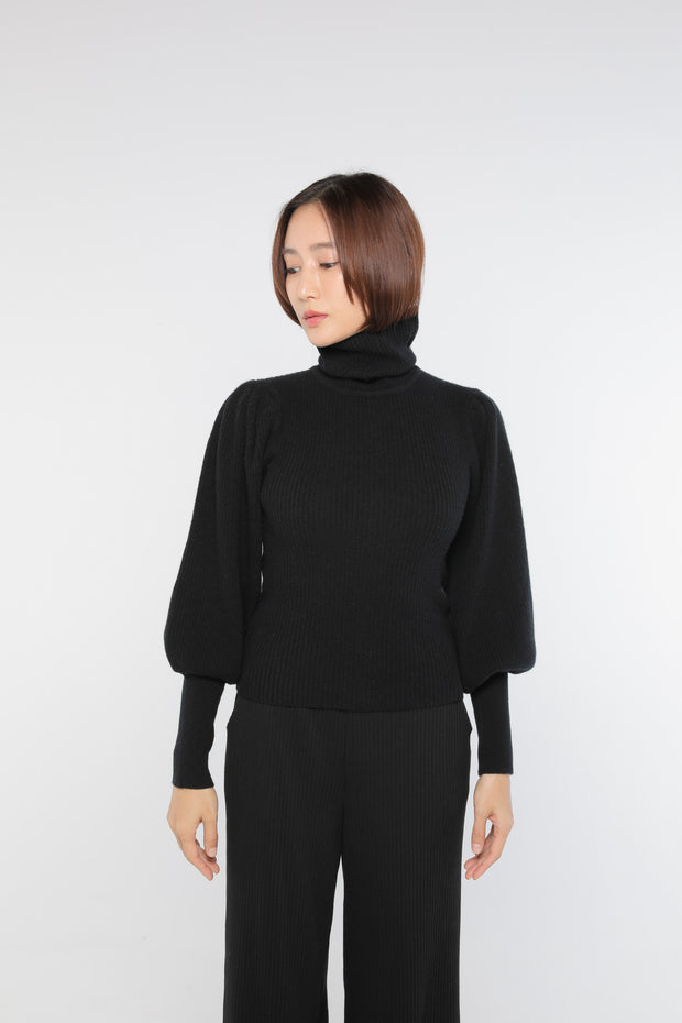 Cashmere puff sleeve Black