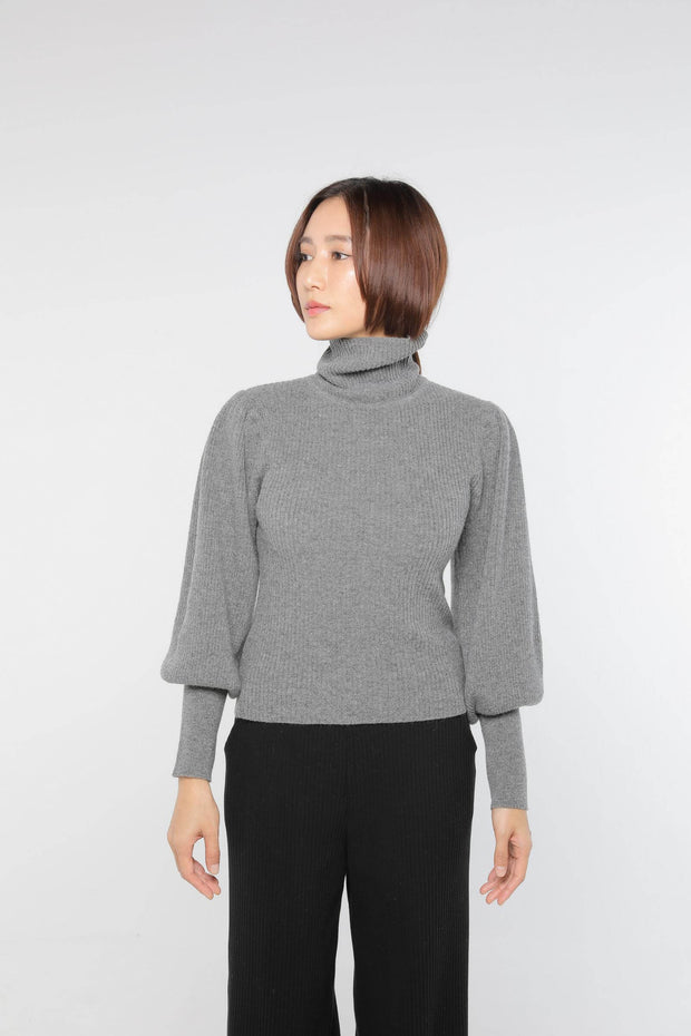 Cashmere puff sleeve Charcoal Gray