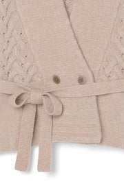 Low gauge short cardigan Camel