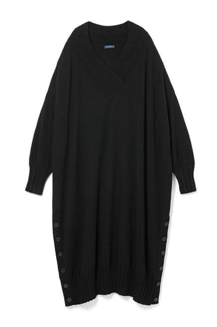 Cashmere side slit Black