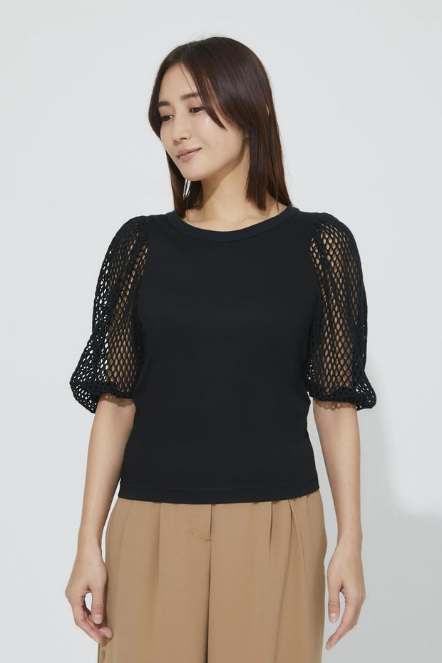 Mesh Sleeve T-Shirt Black