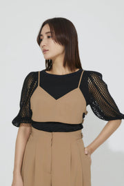 Side Belt Bra Top Camel