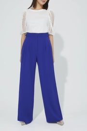 High Waist Tuck Pants Blue