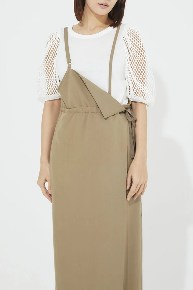 One shoulder Jumper skirt Khaki
