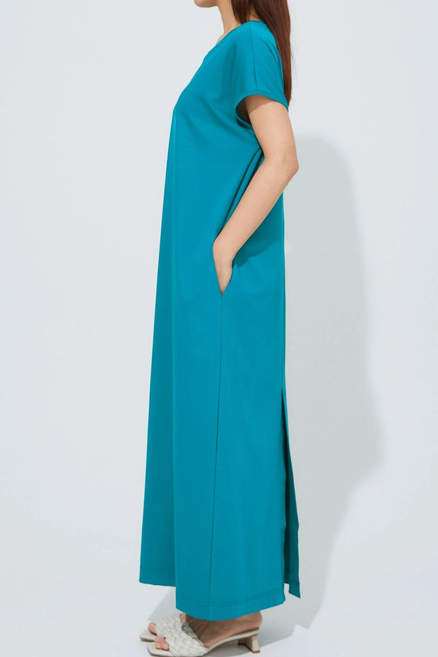 Side Drape Jersey One-Piece Blue