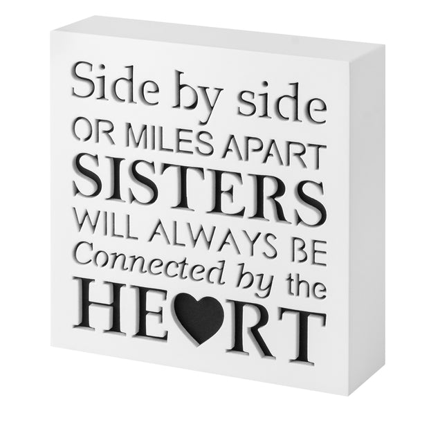 KAUZA Sister Gifts from Sister - Wood Plaque with Inspiring Quotes | Side by Side or Miles Apart, Sisters Will Always be Connected by Their Heart