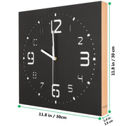 KAUZA Matt Black Handcrafted Wooden Analog Wall Clock - 3D Laser Cutout Numerals Modern Design - Silent Non Ticking Quartz Movement 300mm
