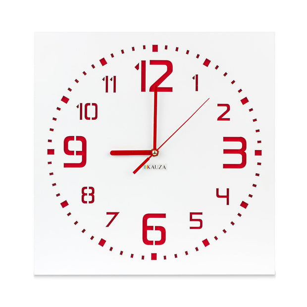 KAUZA Wall Clock Red, Non-Ticking,Indoor Wall Clock with 3D Laser Cut Out, Stunning Design Latin Numerals in Wooden Frame Battery Operated-Blue 300 mm