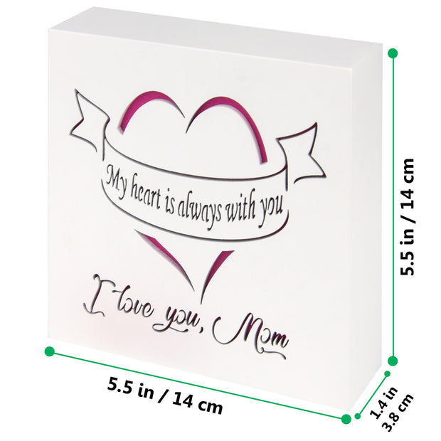 KAUZA I love Mom Gifts Wood Wall Art Valentines Plaque