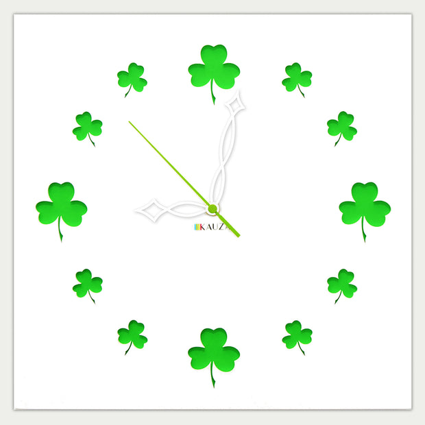 Kauza Irish wall clock shamrock clover