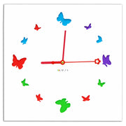 Contemporary Wall Clock with 3D Laser Cut Out Colourful Butterflies Wooden Frame by Kauza