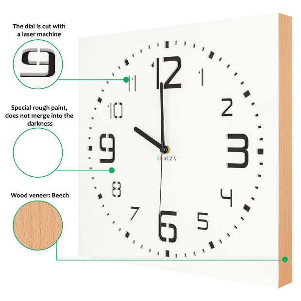 Nowo Wood White Wall Clock 300mm