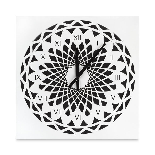 "KAUZA 16"" Wall Clock, Non-Ticking,Indoor and Outdoor Wall Clock with 3D Laser Cut Out, Stunning Design Latin Numerals in Wooden Frame Battery Operated-White Colors White"