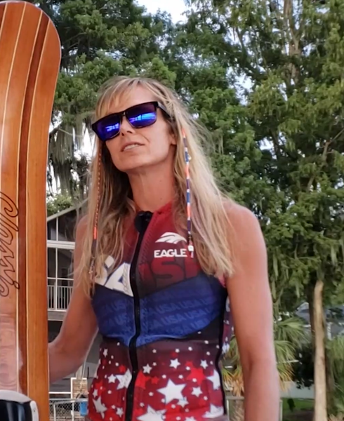 Angela Wearing Am Eagle Vest