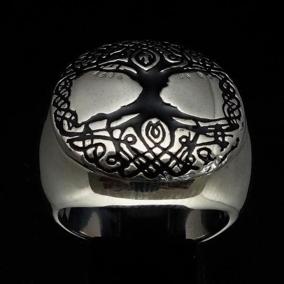 Excellent crafted ancient Men's black Tree of Life Ring - Sterling Silver