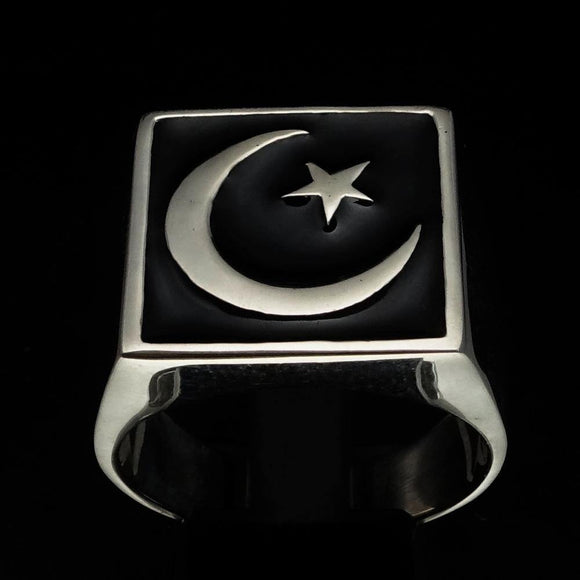Perfectly crafted Men's Ring Crescent Moon and Star Black - Sterling Silver - BikeRing4u