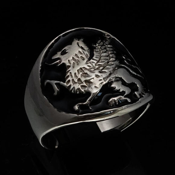 Excellent crafted Men's winged Lion Griffin Ring Black - Sterling Silver