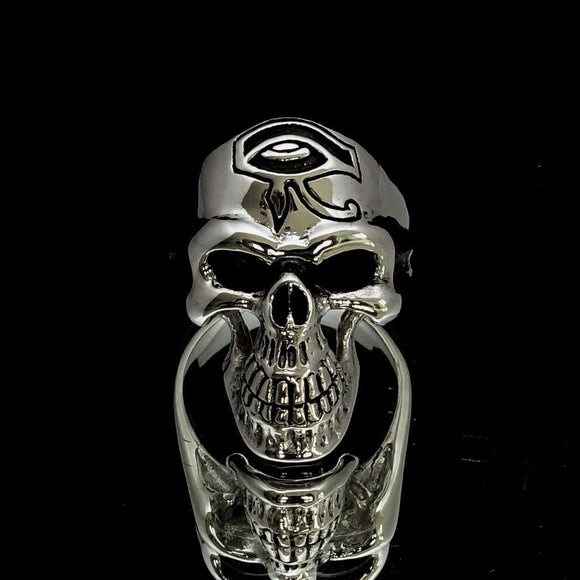 Excellent crafted Men's Skull Ring Eye of Ra - Sterling Silver - BikeRing4u