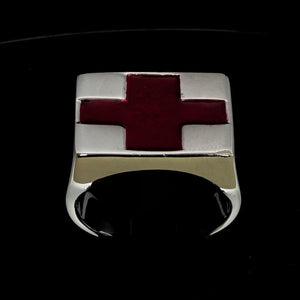 Perfectly crafted Men's Red Cross Ring - Sterling Silver - BikeRing4u