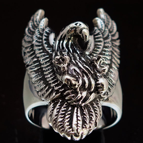 Excellent crafted Men's Eagle Ring spread Wings Sterling Silver 925 - BikeRing4u