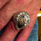 Excellent crafted Men's Animal Ring Male Lion Sterling Silver 925 - BikeRing4u