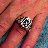 Excellent crafted Men's Signet Ring Oriental Cross Sterling Silver 925 - BikeRing4u