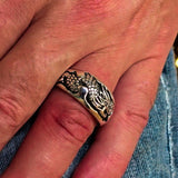 Excellent crafted Men's Animal Band Ring Dragon Snake Sterling Silver 925 - BikeRing4u