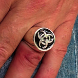 Nicely crafted domed Men's Biohazard Ring Black Toxic Waste Symbol - Sterling Silver - BikeRing4u