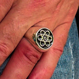Perfectly crafted Men's Teacher Ring Atom Symbol Black - Sterling Silver - BikeRing4u