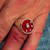 Perfectly crafted Men's Chinese Flag Ring Red - Sterling Silver - BikeRing4u