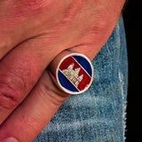 Perfectly crafted Men's round Flag Ring Cambodia - Sterling Silver - BikeRing4u