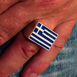 Perfectly crafted Men's Ring Flag of Greece - Sterling Silver - BikeRing4u