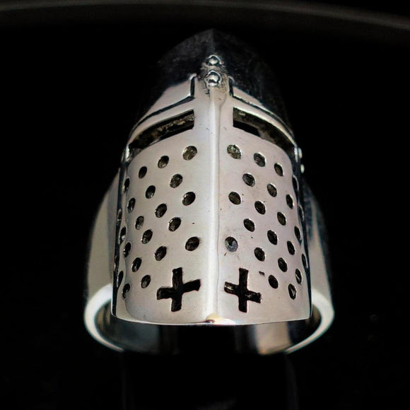 Excellent crafted Sterling Silver Medieval Ring Knight Helmet - BikeRing4u