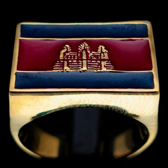 Perfectly crafted Men's rectangle Flag Ring Cambodia - Solid Brass - BikeRing4u