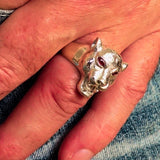 Excellent crafted Sterling Silver Men's Animal Ring Cougar red CZ Eyes - BikeRing4u