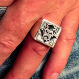 Perfectly crafted Men's Devil Ring Black - Sterling Silver - BikeRing4u