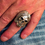 Excellent crafted Men's Sterling Silver Hippie Skull Ring - BikeRing4u