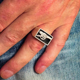 Perfectly crafted Men's Naval Cannon Ring Black - Sterling Silver - BikeRing4u