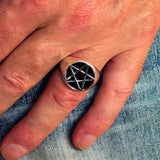 Perfectly crafted Men's Solid Line Pentagram Ring Black - Sterling Silver - BikeRing4u