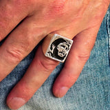 Excellent crafted Men's Revolution Ring Black Fidel - Sterling Silver - BikeRing4u