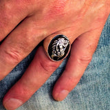 Excellent crafted Men's Aquarius Ring Black Zodiac - Sterling Silver - BikeRing4u